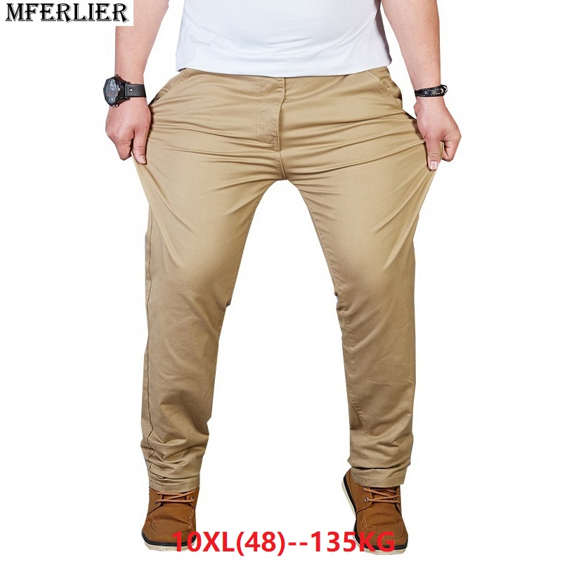 Spring Summer Men Office Business Pants 7XL 8XL 9XL 10XL Plus Size Big Casual Large Elasticity Stretch Pants Straight Trousers