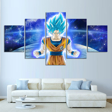 5 Piece Super Saiyan Blue Goku Cartoon Pictures Dragon Ball Anime Poster Canvas Painting Animation Wall Art for Home Decor