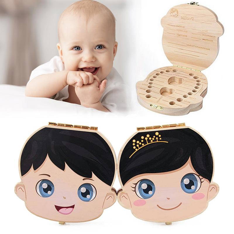 Chinese English Milk Tooth Wood Storage Box Organizer Fetal Hair Storage Box Deciduous Tooth Collection Container For Children