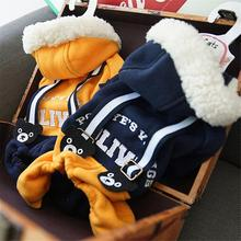 Pet Clothing Bear Overalls Jumpsuit Pet Pants Dog Sweater Plus Velvet Hood Outdoor Warm Winter Cold Winter Season lemonic plus winter cold e liquid