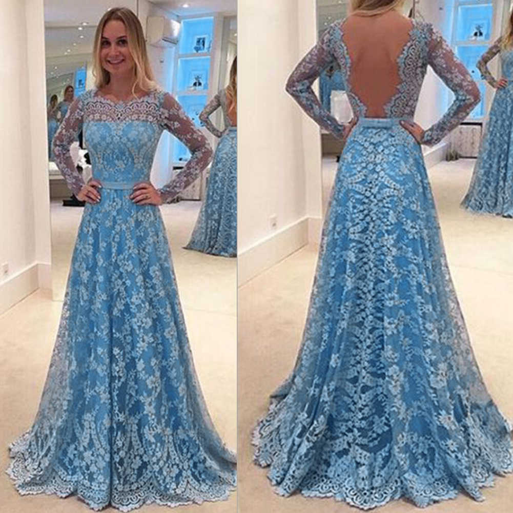 2018 Fashion Women Formal Maxi Dresses Lace Long Sleeve Evening Party  Wedding Ball Prom Gown Dress d4e059b8c