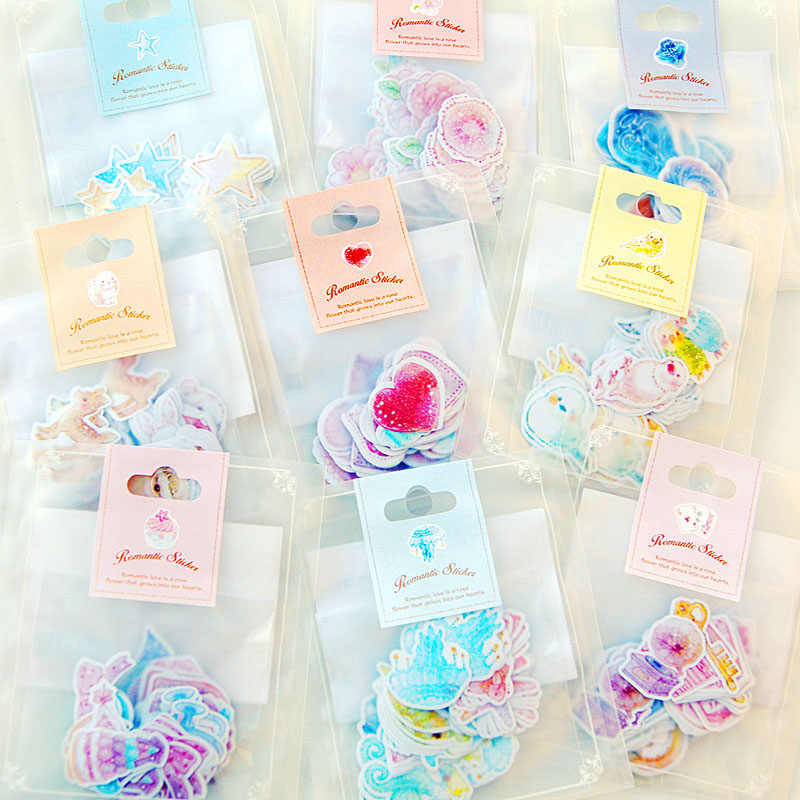 70 pcs/lot(1 bag) DIY Cute Kawaii Romantic Heart Star Crafts and Scrapbooking Sticker For Decoration Home Stickers