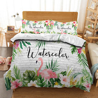 Flower Feather Flamingo Bedding Quilt Cover Duvet Set Pillowcase Microfiber Soft Comforter Bedroom Single Queen King Tropical