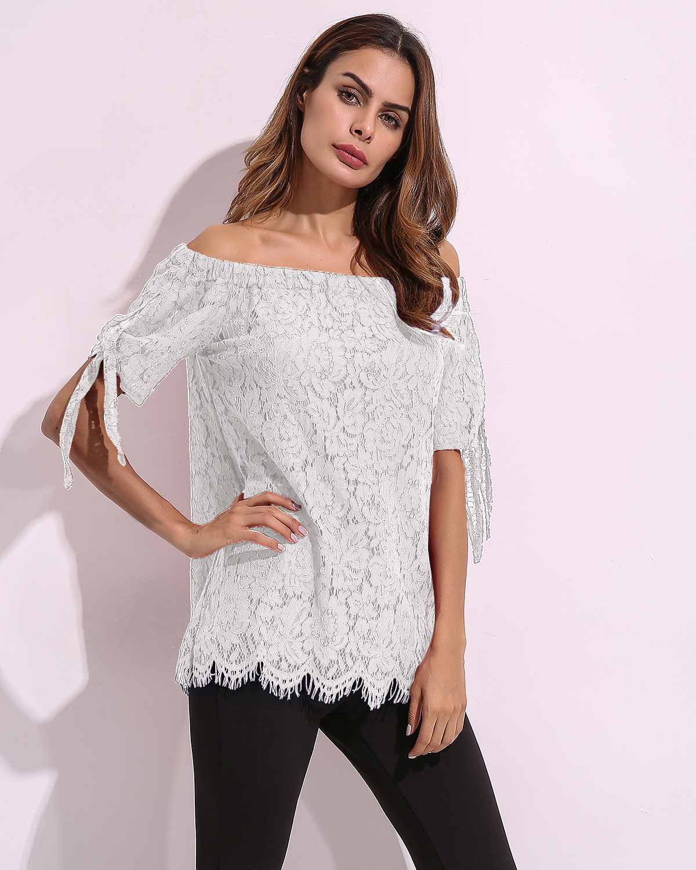 Plus Size Women   Blouse     Shirts   Casual Loose Sexy Off Shoulder Patchwork Lace Pure Color Summer Short Sleeve Slash Neck Top   Shirts