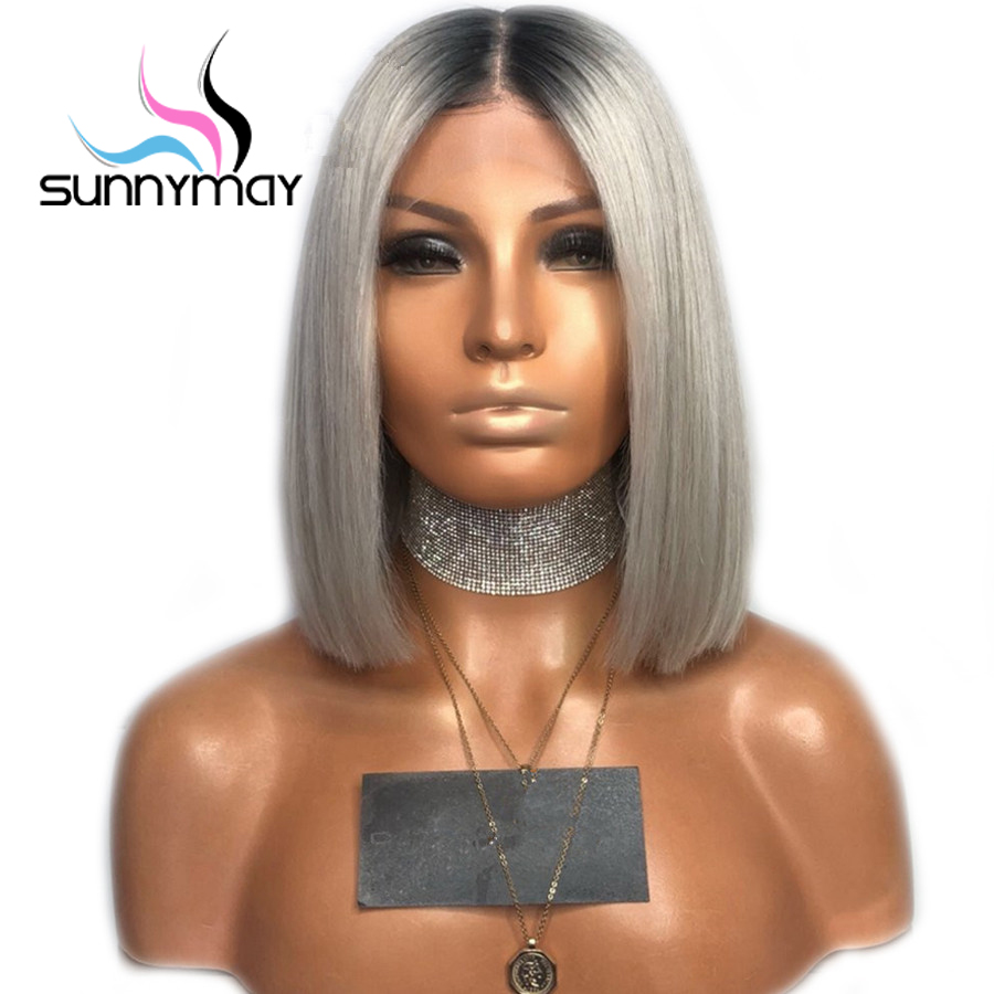 Sunnymay 13x4 Short Bob Wigs Pre Plucked Lace Front Human Hair Wigs Grey Ombre Human Hair Wig Remy Hair Straight Lace Front Wigs
