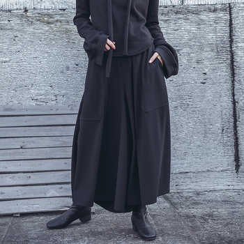 [EAM] 2019 Spring Woman Personality New Solid Black Color High Elastic Waist Pleated Pockets Long Loose Wide-leg Pants LI152