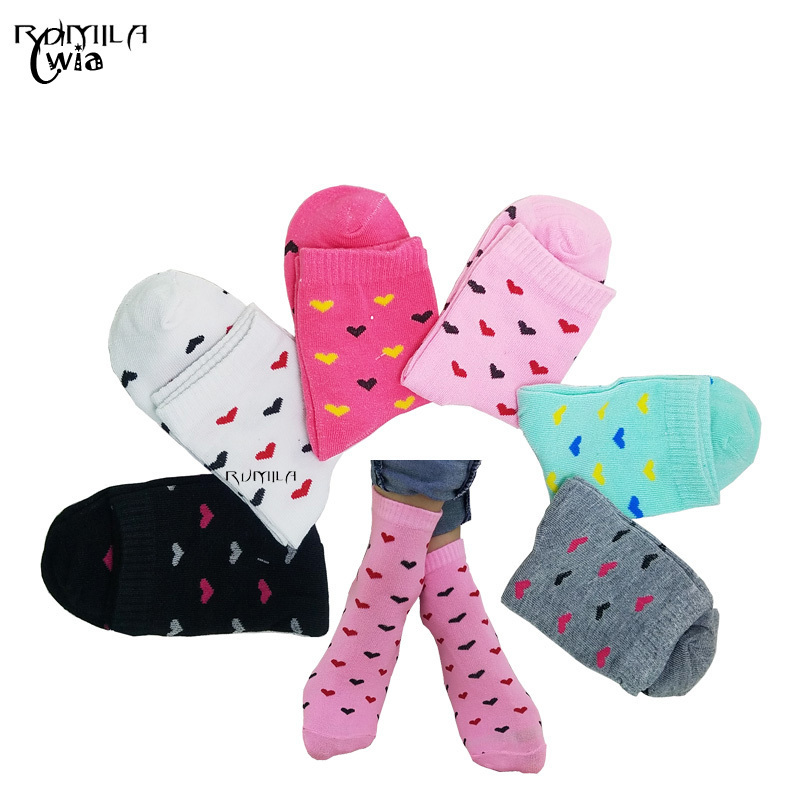 Warm Comfortable Cotton Heart Bamboo Fiber Girl Women's Socks Ankle Low Female Invisible  Color Girl Boy Hosier 1pair=2pcs WS49