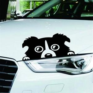 Image 2 - Professional 1pc New 14*8CM Border Collie DOG Personality Reflective Glass Rear Pet Car Sticker Black White