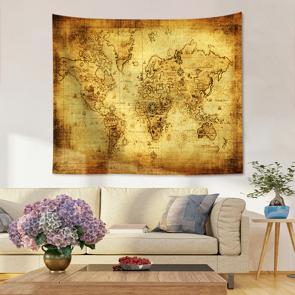 Antique Imitated World Map Old Memory World Sailing Map Scrolls Cotton Canvas Frameless Wall Decorative Hanging Map 29 in Painting Calligraphy from Home Garden