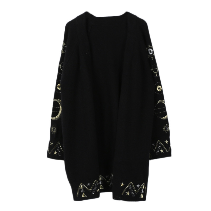 Tricot Cardigans Vêtements Coupe Printemps Broderie Femmes Épais Lâche En Chandails V Chandail Étoilé Noir Cardigan Beige cou De 2019 Ciel noir Mode tCxBhrsdQo