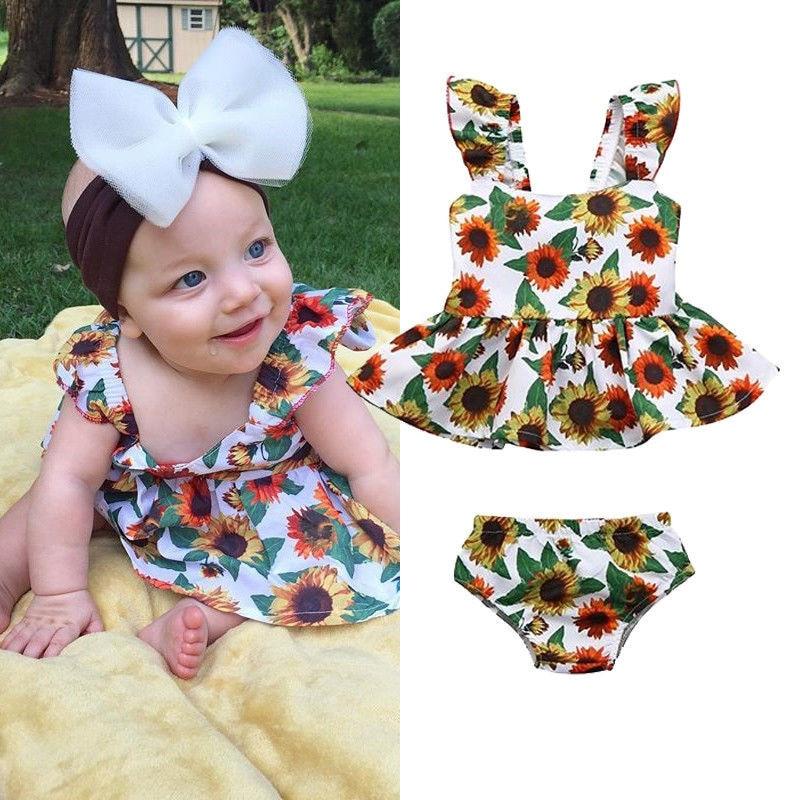 9ad043bd2ae Fashion Newborn Summer Clothes Kids Baby Girls Cotton Sets Sunflower  Sleeveless Strap Ruffle Tops Dress Shorts