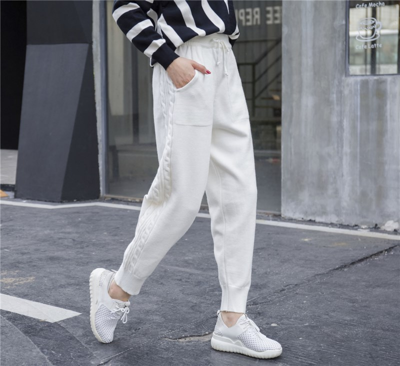 Women Spring Lace Up Harem Trousers Side Twist Loose   Pants   Warm Thicken Stretchable Knitted   Pants   Pantalones