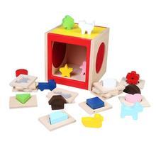 Обучающая деревянная игрушка Монтессори, Набор пазлов в геометрическом стиле для детей, Деревянные Игрушки для раннего обучения, пазлы для детей