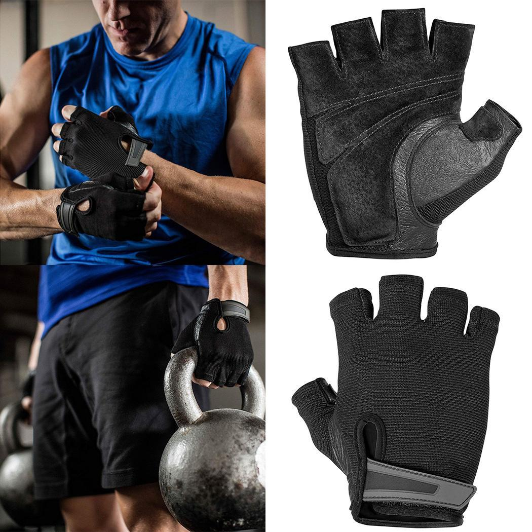 Men Cycling Rowing Weightlifting Power Grip Half Pair Of Black Finger Sports Exercise Gloves Adults