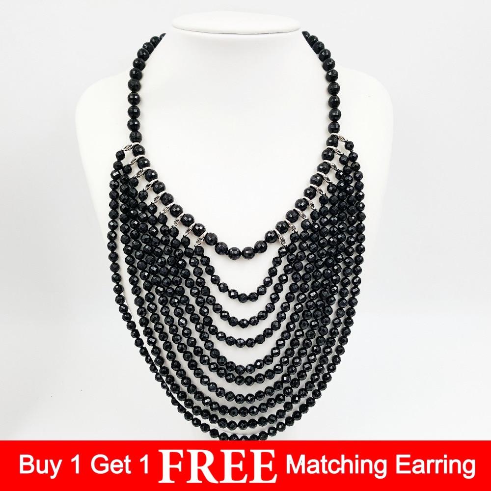 Lii Ji Natural Stone Black Agate Tassel Statement Jade Toggle Clasp Necklace 48cm stylish natural black agate necklace 43cm