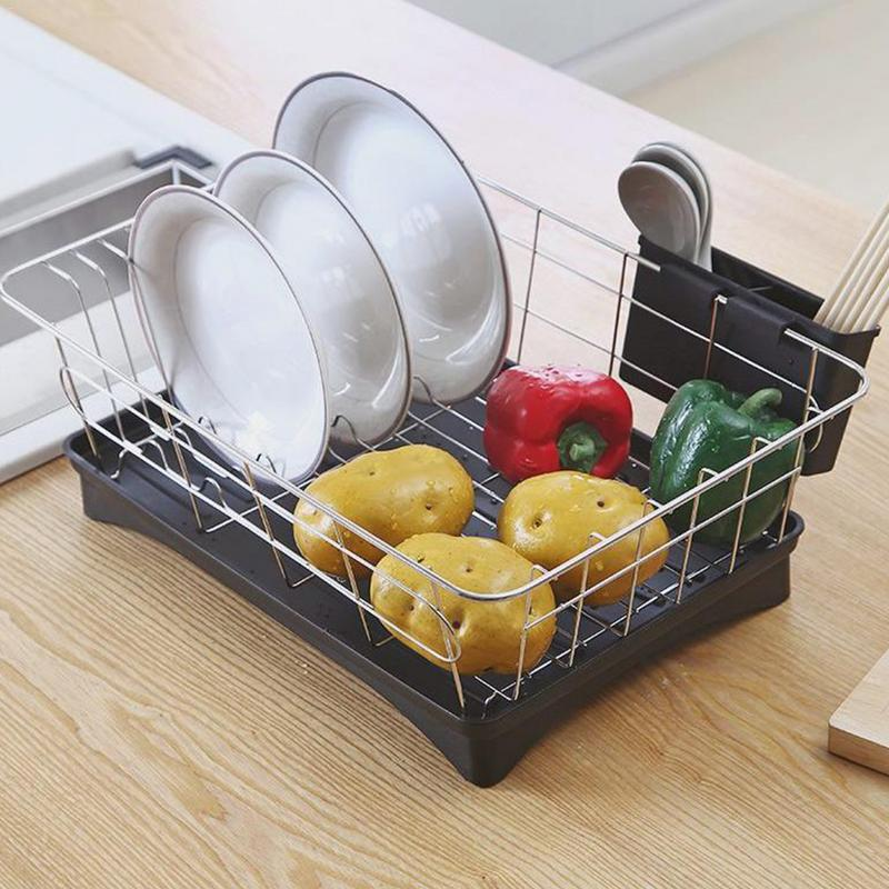 Dish Drainer Stainless Steel Drying Rack with 3-Piece Set Removable Utensil Holder Small Dish Rack for Kitchen Counter Dishware