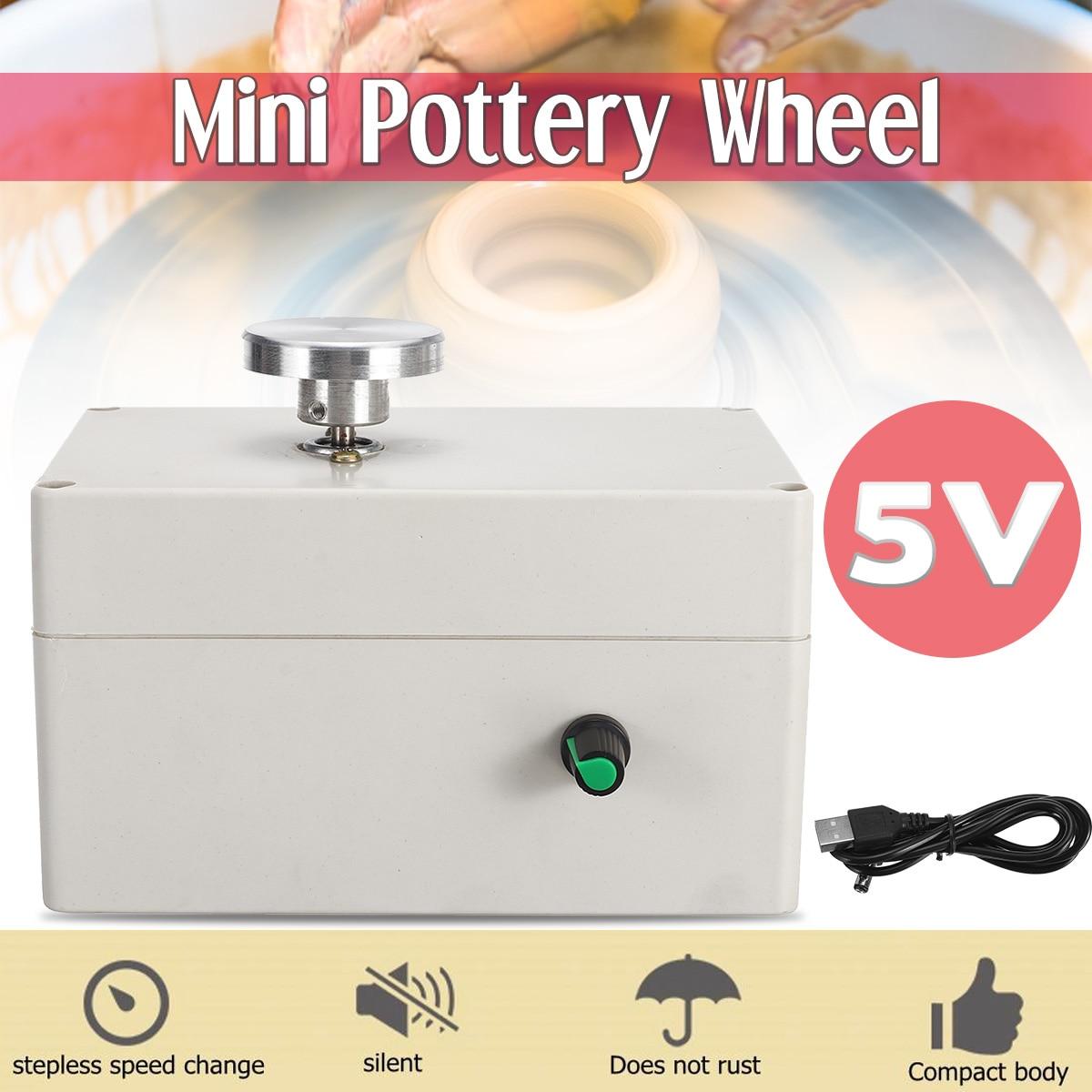 5 V Mini poterie roue électrique USB céramique Machine pour argile Art travail artisanat bricolage contrôle manuel vitesse Stepless porté lisse