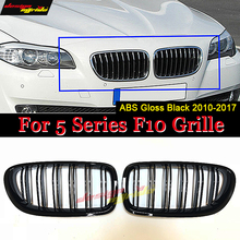 Injection 5 Series F10 Glossy Black Dual Slat M5 Style Front Kidney Grille Grill For 520i 523i 525i 530i 535i 540i 2010-2016