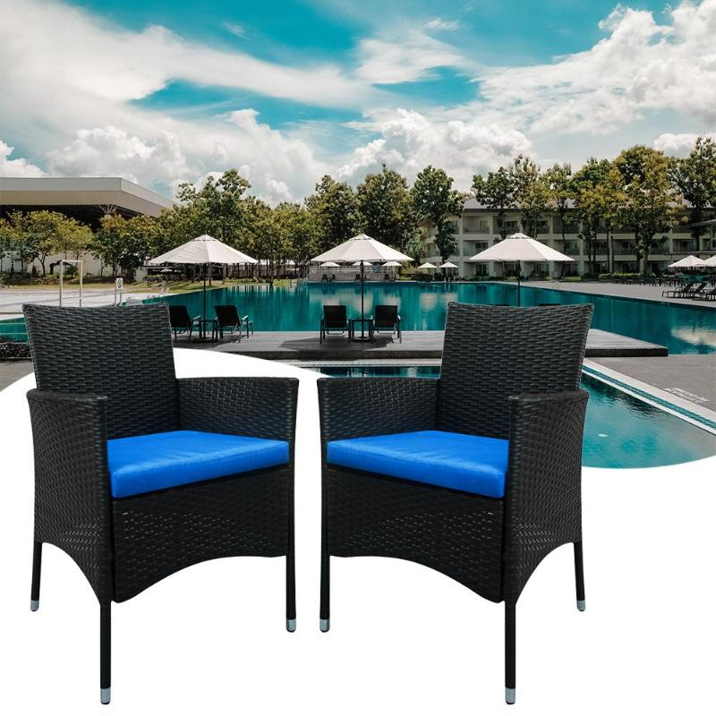 2pcs Single Backrest Chairs Black Embossed Dining Arm Chair Rattan Cafe Home Furniture Kit Garden Chairs With Soft Cushion