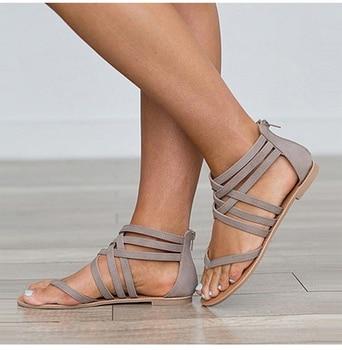 Summer Gladiator Sandals 2019 New Platform Flip Flops Flats Casual Slip On Shoes Flat Woman Size 35-43 XWZ5001 римские сандали