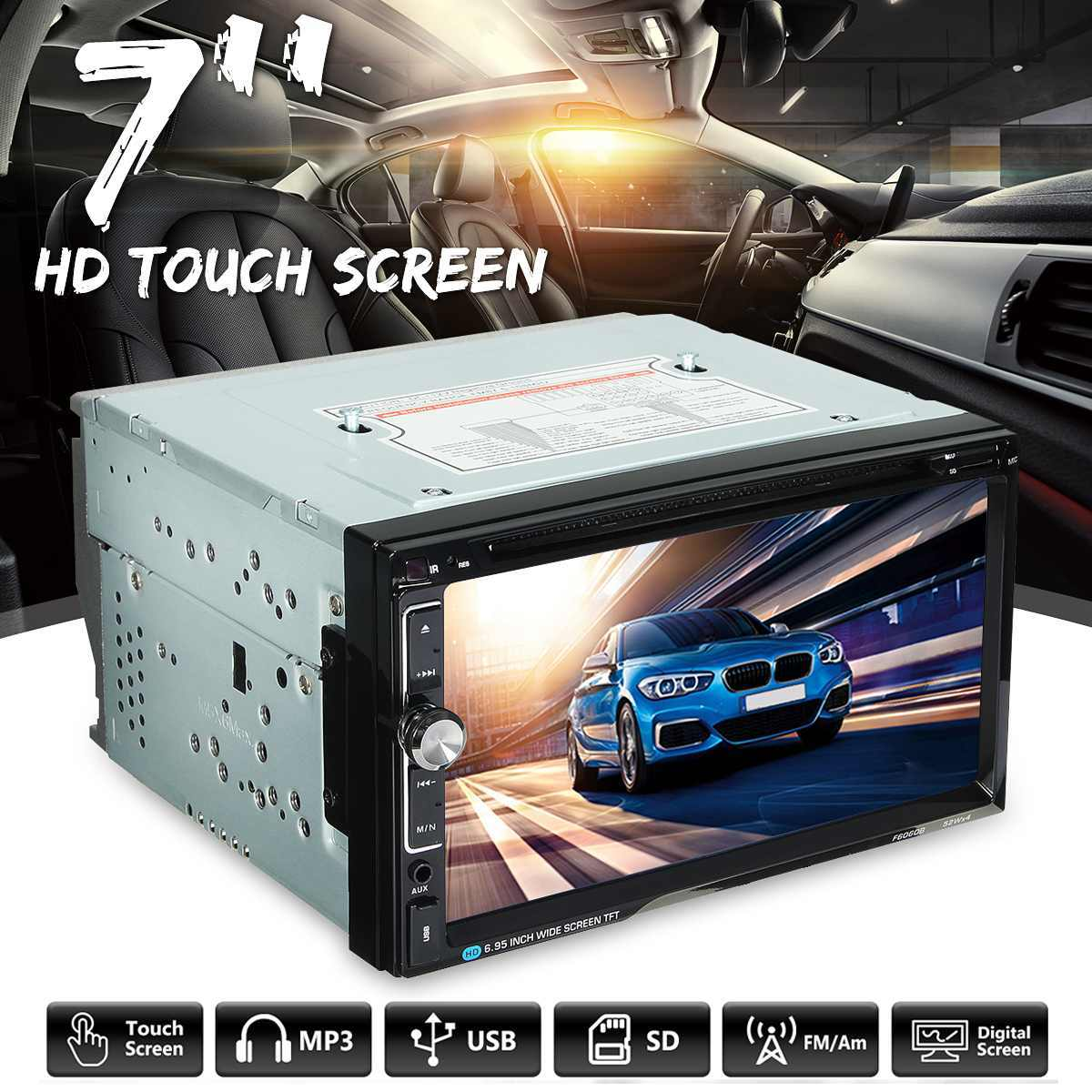 7 inch 2 Din 52W * 4 Universele Auto Stereo DVD Radio Speler bluetooth FM MP3 MP4 Radio Aux entertainment Multimedia Speler