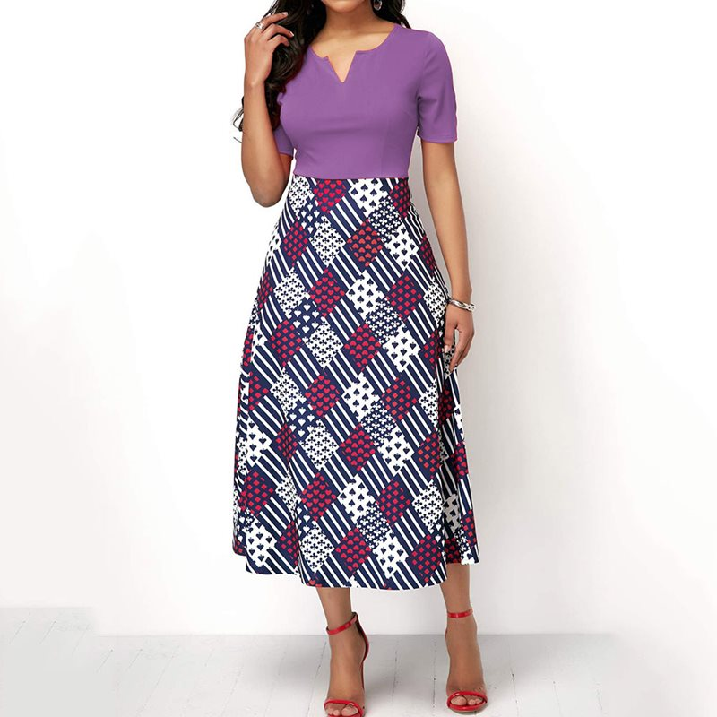 Plaid Print Elegant African Plus Size Dress Women Purple Fashion Summer Vintage A Line Sexy Blue Casual High Waist Midi Dresses in Dresses from Women 39 s Clothing