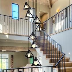 Nowoczesne geometryczne podwójne schody żyrandol. salonu mistrzem lampka do sypialni dekoracji. restauracja doprowadziły światła dekoracji Wiszące lampki    -