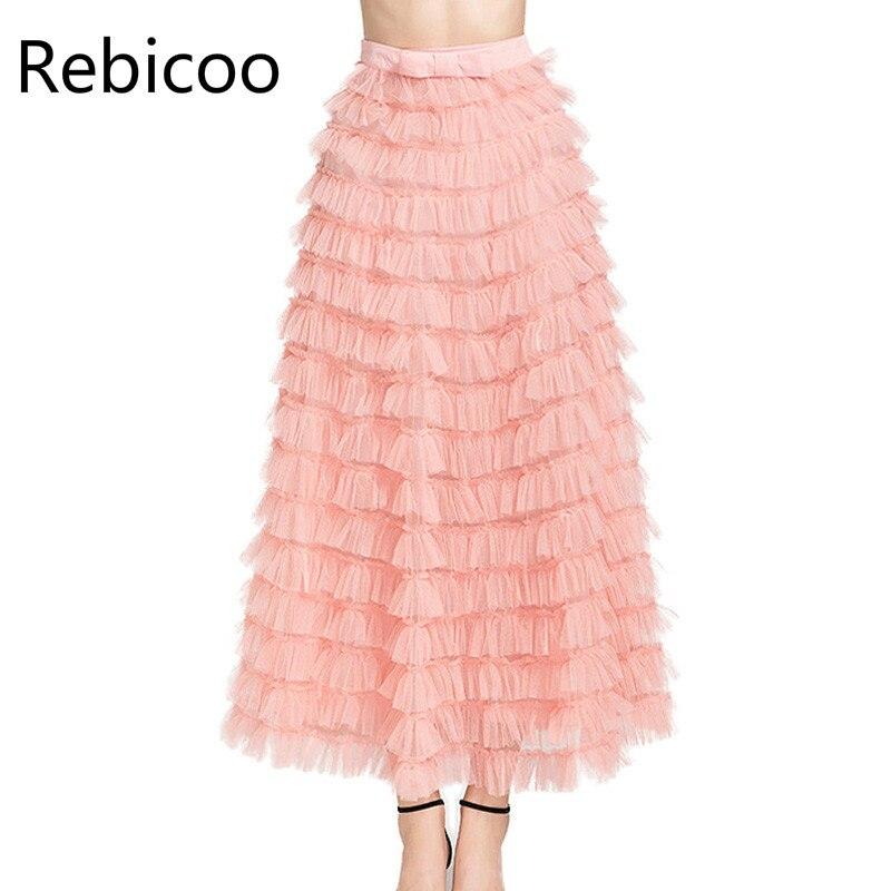 High Street Fashion Korean Cake Skirt Women Summer Solid Bowknot Elegant Tulle Skirt Black Red Pink Long Maxi Skirts for Women