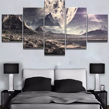 Framed 5 Piece Canvas Art Alien Huge Planet Poster Painting Wall Picture Home Decoration Living Room