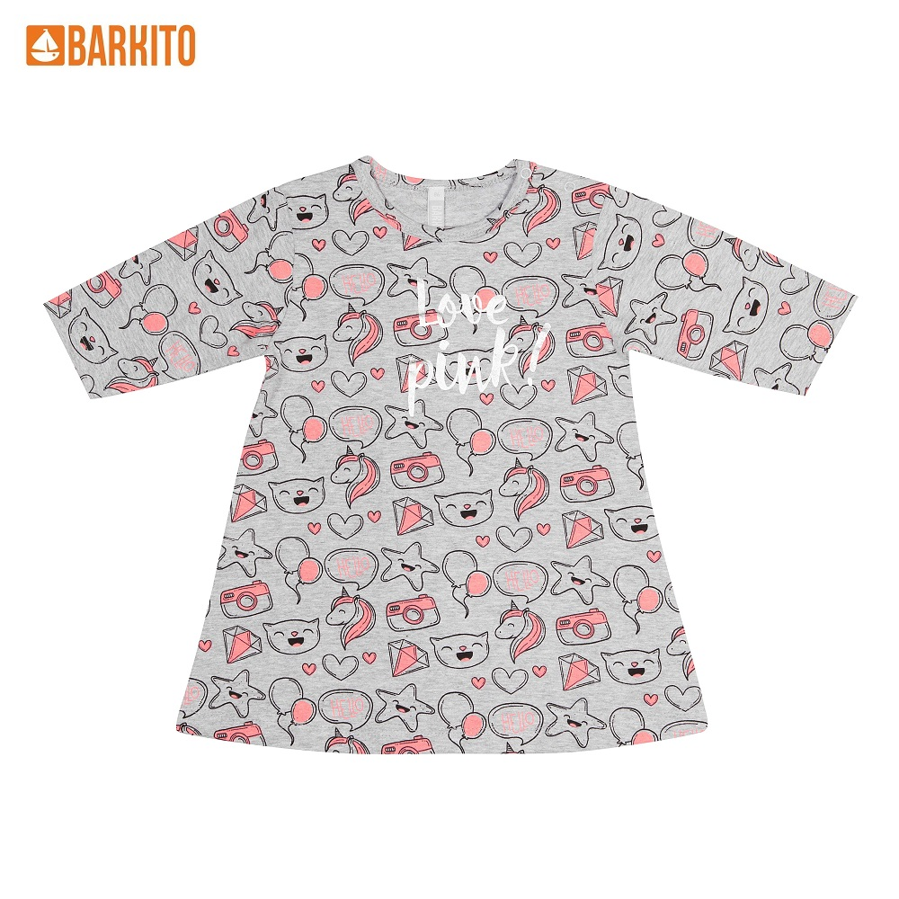 Dresses Barkito 339027 children clothing Cotton Gray Casual 2T31A-30317KOR
