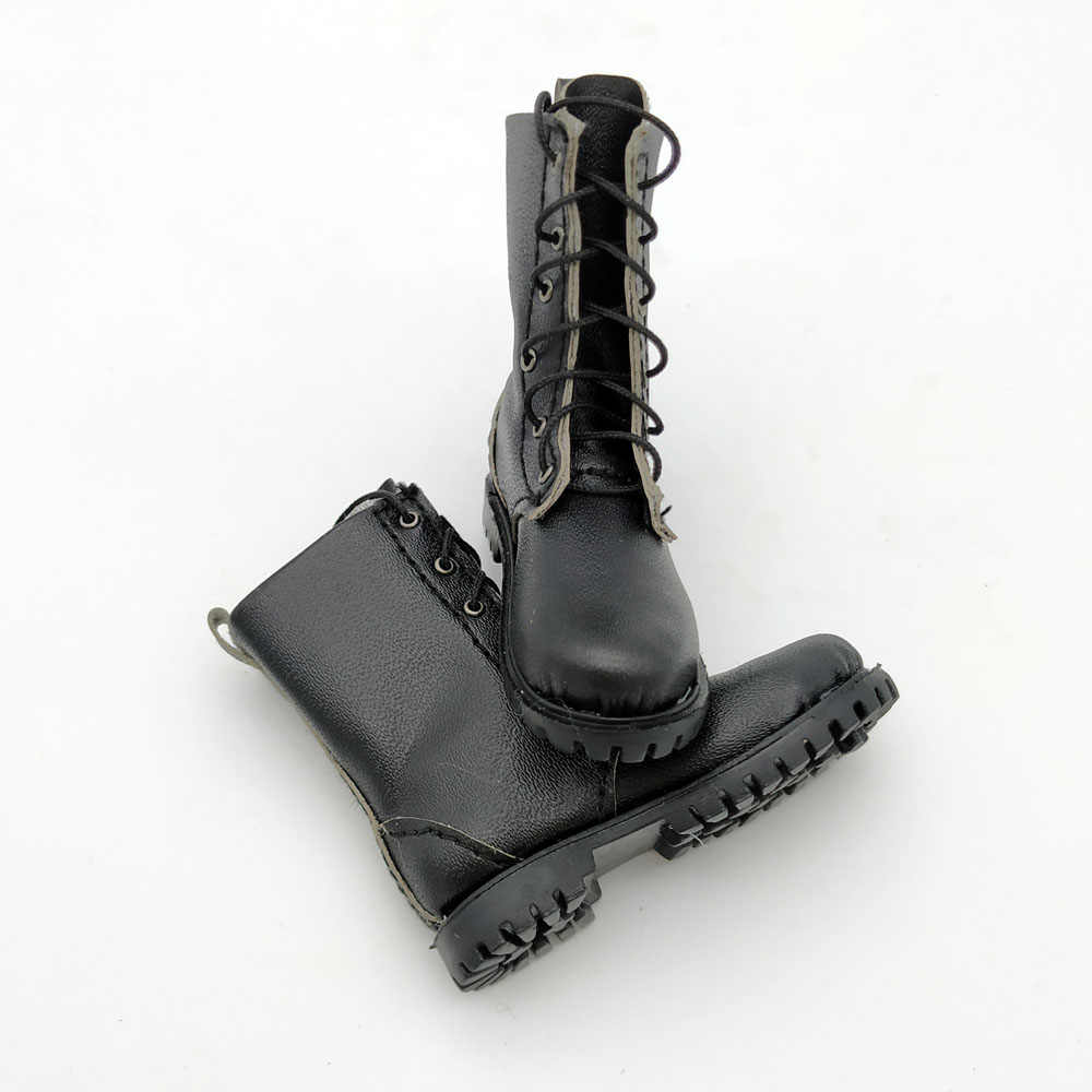 1//6 Black Solid Boots Male Soldier kneeboot Shoes for 12inch action figure toys