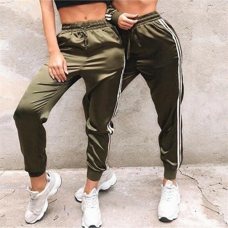 New Fashion Women Side Stripe Harem   Pants     Capris   2019 High Waist Casual Loose Bandage   Pants   Lady Sports Long Trousers Streetwear