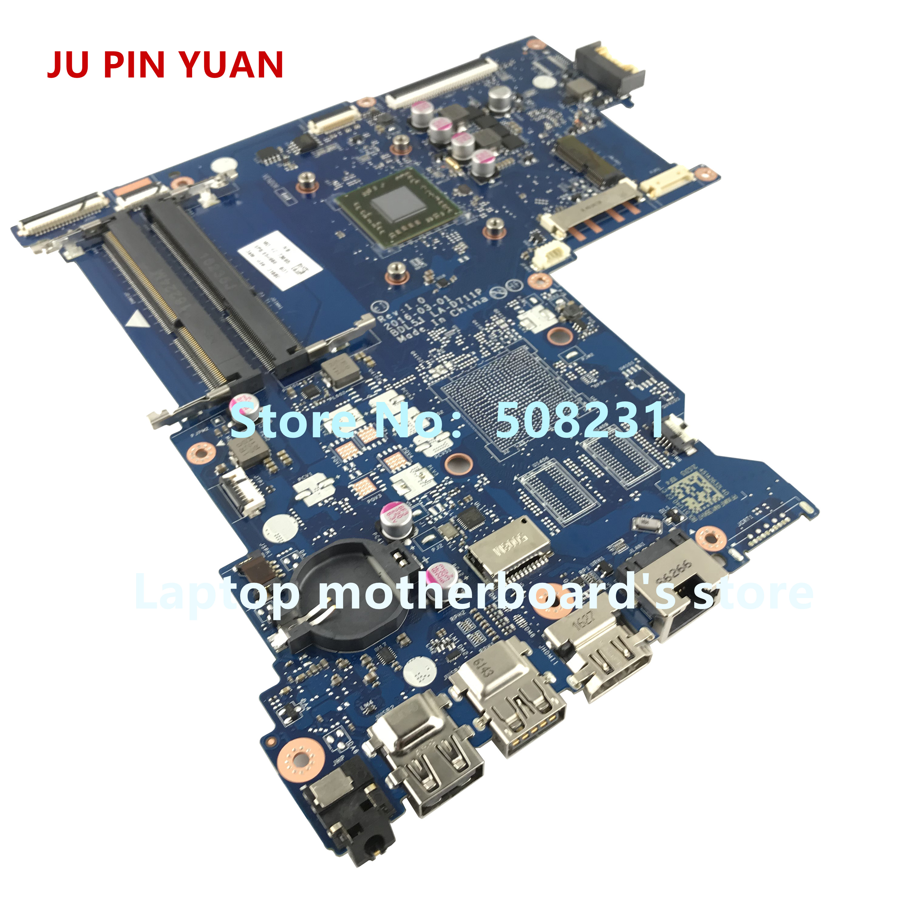 JU PIN YUAN 854966 601 854966 001 BDL51 LA D711P mainboard for HP NOTEBOOK 15 BA PC Laptop motherboard A6 7310 fully Tested in Laptop Motherboard from Computer Office