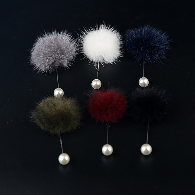 I-Remiel корейская мода 5 см норковые волосы мяч длинная игла брошь свитер пальто ювелирные изделия женщина лацкан булавка значок рубашка украшение воротника