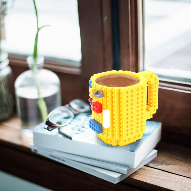 350ml Creative Milk Mug Coffee Cup DIY Build-On Brick Drinking Water Coffee Building Blocks Cup Home Office Cup Kids Gift