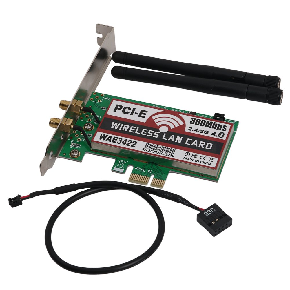 Network Card, Bluetooth 4.0 Dual-Band 2G/5G 300Mbps Pci-E Pci Express Wae3422 Network Card Wlan Wifi Adapter
