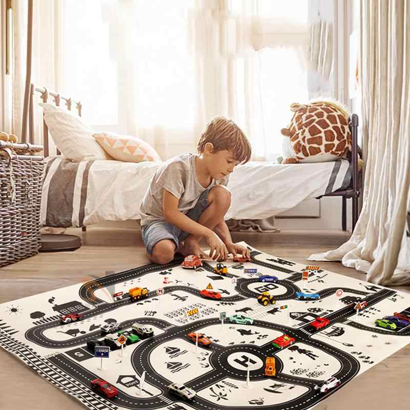 2019 New 130*100cm Children's Games Car Scene Map Toys Nordic Style Children's Game Mats Baby Crawling Mat Tarpaulin Toy Mat