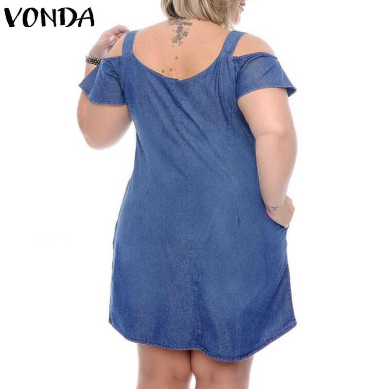 VONDA プラスサイズデニムドレス女性 2019 夏サンドレスデニムのセクシーなショートミニドレスカジュアル Vestidos