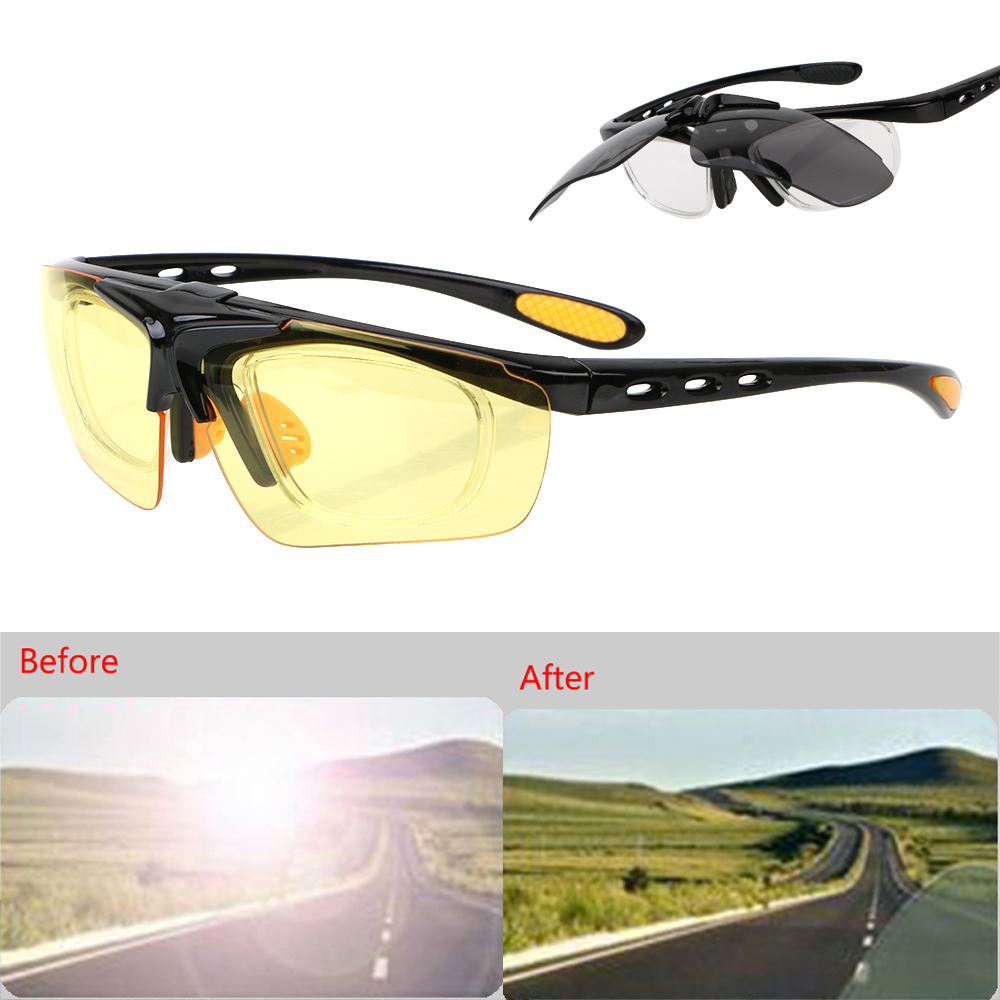 Car Night-Vision Glasses Drivers Goggles Flip Cover Anti-glare Motocross Bike Sunglasses UV Protection Outdoor Sports Glasses