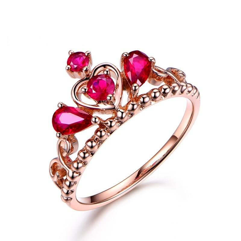Carat Ruby Engagement Crown Ring 14K Rose Gold Inlaid Diamond Gemstone Anillos De Jewelry for Women Bague Etoile Bizuteria Rings