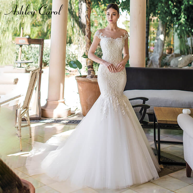 Ashley Carol Mermaid Wedding Dresses Invisible Neckline Sweep Train Romantic Illusion Bride Gown Vestido De Noiva Customized