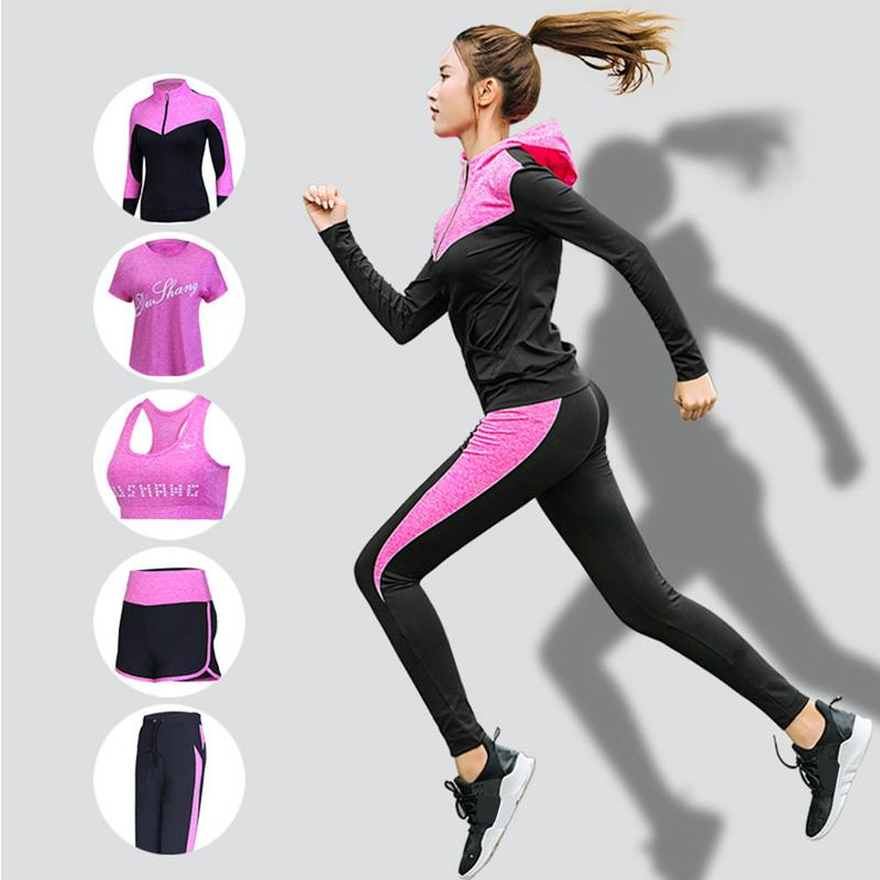 5PCS Women Yoga Fitness Sports Suit Quick Drying Fashionable Slim Running Sportswear Autumn Winter Yoga Clothes