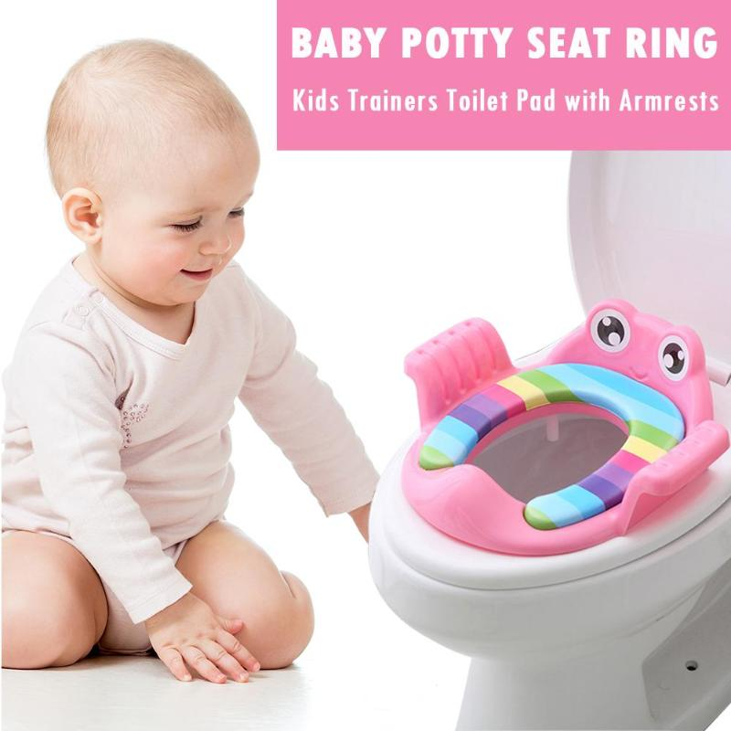 Safety Baby Toilet Seat With Armrests Girls Boys Toilet Trainers Comfortable Children Potty Seat Cartoon Infant Potties Training