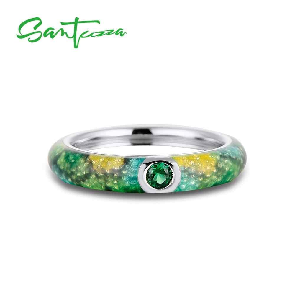 SANTUZZA เงินชุดเครื่องประดับสำหรับผู้หญิง Eternity แหวนต่างหู 925 เงินสเตอร์ลิงแฟชั่นเครื่องประดับที่มีสีสัน HANDMADE Enamel