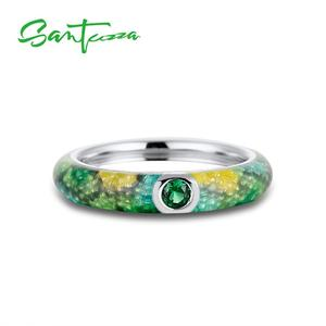 Image 5 - SANTUZZA Silver Jewelry Set For Woman Eternity Ring Earrings 925 Sterling Silver Party Fashion Jewelry Colorful HANDMADE Enamel
