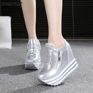 Image 5 - SWYIVY 11cm Wedge Shoes For Woman Sneakers White Shoes 2019 Spring/Autumn New Fashion Womens Footwear Ladies Casual Shoes Black