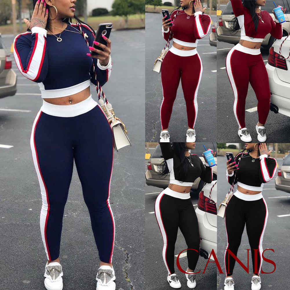 2Pcs Women's Ladies Running Sets Tracksuit sportswear Pants Sets Sport Wear Casual Suit