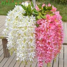 HILIFE Fake Silk Wisteria Hanging Rattan Flower Vines Garland Home Decoration We