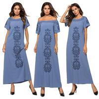 Fashion Women Denim Long Dress Off Shoulder Embroidery Stripe Short Sleeve Casual Summer Dresses Elastic Neck O neck A line New