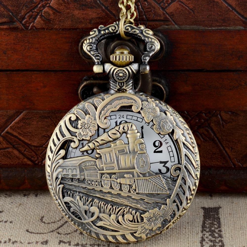 Bronze Hollow Train Theme Full Hunter Quartz Engraved Fob Retro Pendant Pocket Watch Chain Gift Fire Fighter Theme